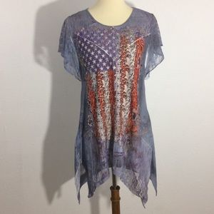 Unity World Wear American Flag Studded Lace Blouse